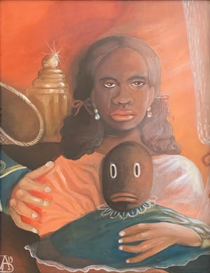 """Ashley Doggett, """"Kept Black Girl (Pallor Tastes),"""" 2019, oil and acrylic on canvas, 18"""" x 20."""""""
