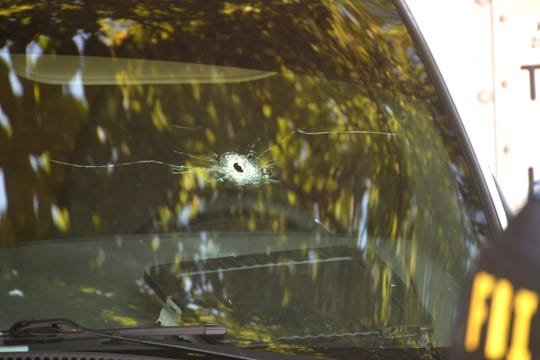 A bullet hole in a truck that was driven by a Mexican national, according to ICE. The FBI and the U.S. Department of Homeland Security are investigating after an ICE agent fired shots at the box truck during a traffic stop  Thursday, Sept. 5, 2019, in Nashville, Tenn.