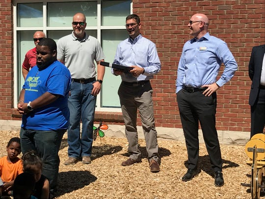 Members of DPR Construction, Jeremy Payne and John Vardaman, and Leadership Franklin Class of 2019 member Jason Capland attended the ribbon-cutting celebration for the opening of the new playground and computer lab at Community Child Care Center in Franklin.