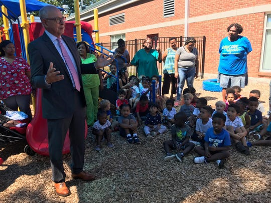 Franklin Mayor Ken Moore said children at Community Child Care Center might become the next mayors or aldermen of Franklin.