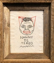 "Ashley Doggett, ""Nanny Is Tired,"" 2019, cotton thread embroidery on lace, 10"" x 7.5."""