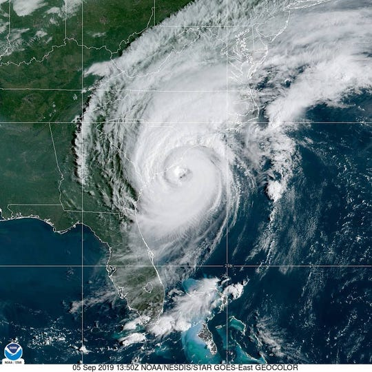 Hurricane Dorian spinning over the coast of  South Carolina Thursday, Sept. 9, 2019