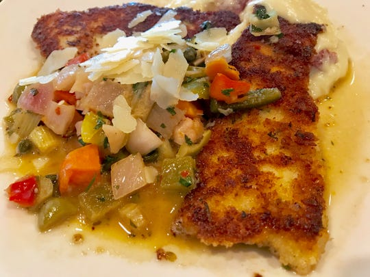 Cooper's Hawk chicken giardiniera, which is Parmesan-breaded chicken, house-made pickled veggies, shaved Parmesan and Mary's potatoes ($13.99, lunch portion)