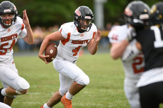 Hasbrouck Heights football at Cresskill on Thursday, September 5, 2019. HH #4 Spencer Lee on his way to scoring a touchdown in the first quarter.