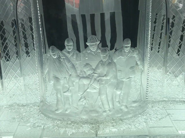 This Waterford crystal piece commemorates the sacrifice of Sept 11 first-responders carrying the Rev. Mychal Judge from the rubble of the Twin Towers on display at Engine 1, Ladder 24, on West 31st Street in New York City. It's on display at Engine 1, Ladder 24, on West 31st Street in New York City.