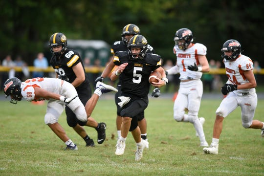 Hasbrouck Heights football at Cresskill on Thursday, September 5, 2019. C #5 QB Aidan Feulner in the second quarter.