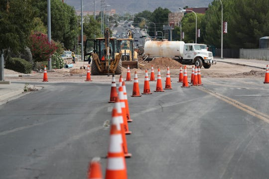 Construction closes the intersection of University Avenue and El Paseo Road after an overnight water line break in Las Cruces on Thursday, Sept. 5, 2019.
