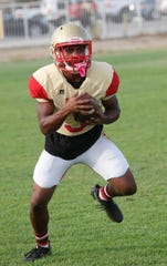 College of the Desert football player Franklin Miller practices in Palm Desert on September 4, 2019.