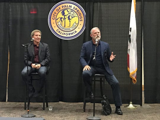 Mayor Pro Tem Geoff Kors (left) and Councilman J.R. Roberts make introductory remarks at a community meeting on Sept. 4, 2019, at the Palm Springs Convention Center.