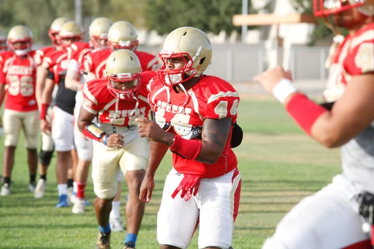College of the Desert football players practice in Palm Desert on September 4, 2019.