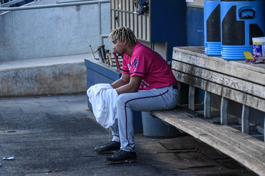 Pensacola Blue Wahoos pitcher Jhoan Duran gave up four runs on eight hits in a loss to Biloxi in Game 1 of the Southern League semifinals Wednesday, Sept. 4, 2019.