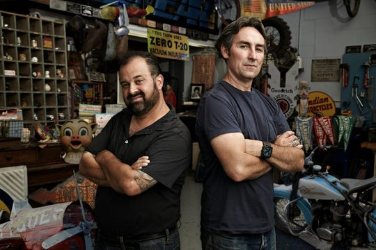 Frank Fritz, left, and Mike Wolfe are the hosts of American Pickers, a documentary series about antiquing on the History Channel.
