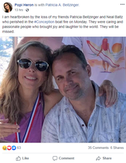 Popi Heron wrote a Facebook post about Neal Baltz and Patricia Beitzinger, who are among 34 people presumed dead after a California boat fire on Sept. 2, 2019.
