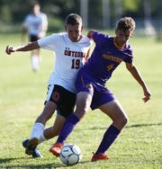 Rhinebeck's Declan Kroll and Onteora's Owen Martin battle for the ball during a Sept. 4 game.