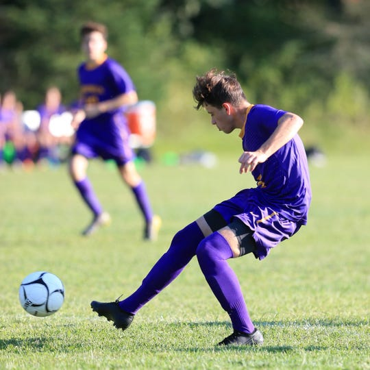 Rhinebeck's Johnny Lange takes a shot on Onteora to score the game's first goal on September 4, 2019.