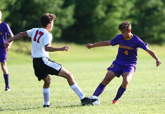 Rhinebeck's Declan Kroll looks to gain control of the ball against Onteora during a Sept. 4 game.