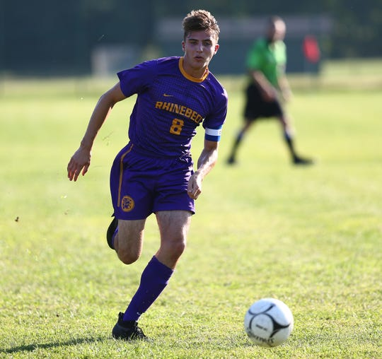 Rhinebeck midfielder Gideon Rothschild chases after the ball during a Sept. 4 game against Onteora.