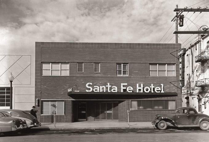 Santa Fe Hotel, shown here newly built in 1949, replaced an earlier Santa Fe destroyed by fire. This second Santa Fe still stands in downtown Reno.