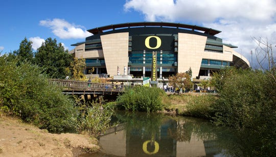 A general view of Autzen Stadium from across the bike bridge.