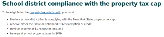 Here are the eligibility requirements to receive a property tax relief credit