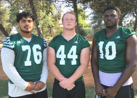 Sophomore defensive linemen Detrius Kelsall, from left, Cole Parker, Torren Calhoun-Ray and offensive lineman Michael Johnson (not pictured) are expected to lead Shasta College football in 2019.