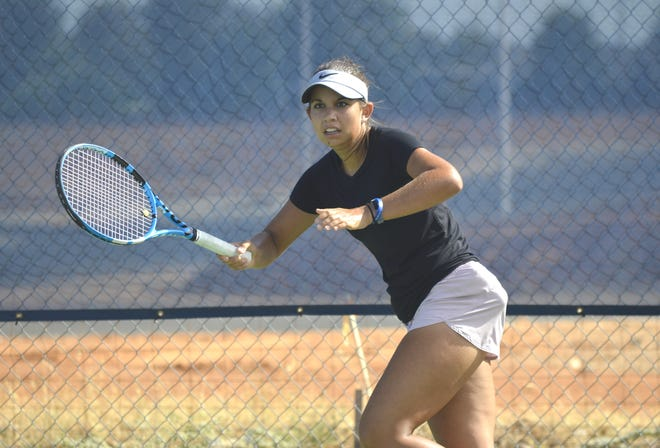 Isabelle Bahr practices Tuesday, Sept. 3, 2019, at Sun Oaks Tennis & Fitness in Redding.