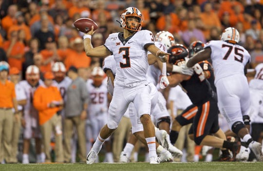 Oklahoma State Cowboys quarterback Spencer Sanders during an NCAA football game on Friday, Aug. 30, 2019 in Corvallis, Ore.