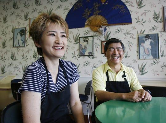 Kazuko (Kay) and Haruo (Harry) Ogawa in their Japanese bento restaurant, Ramen Ichiban, on Wednesday July 12, 2006.