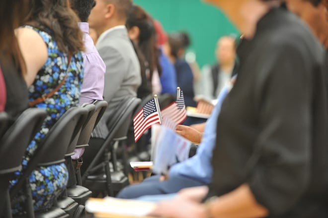 The U.S. Citizenship and Immigration Services welcomed 89 new citizens at Fairview Middle School in Gonzales, Calif. Sept. 5, 2019.