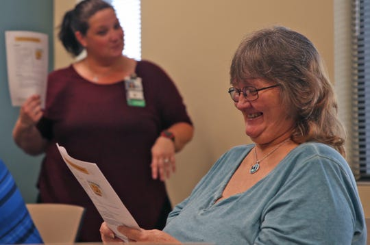 Cynthia Pena, right, attend a cooking class with Veterans Affairs dietitian Ansleigh Swartwood, left, at the San Angelo VA clinic Tuesday, August 27, 2019.