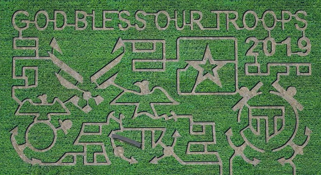 The Circle S Corn Maze and Pumpkin Patch, 7305 Bean Road in Wall, revealed their 2019 maze design. This design honors the armed forces.