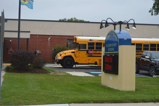 A school bus pulls up to drop off students at Charles H. Chipman Elementary School in Salisbury, Maryland on Thursday, Sept. 5, 2019.