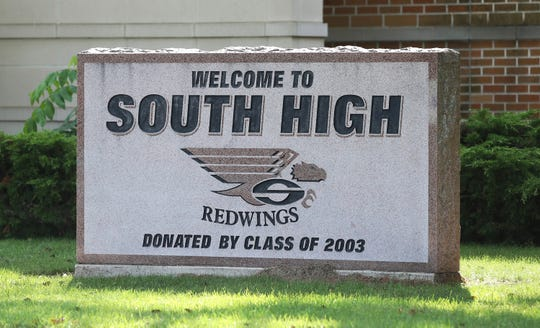 The Sheboygan South High class of 2003 donated a granite marker with the school's new mascot name back in 2003, Thursday, September 5, 2019, in Sheboygan, Wis.