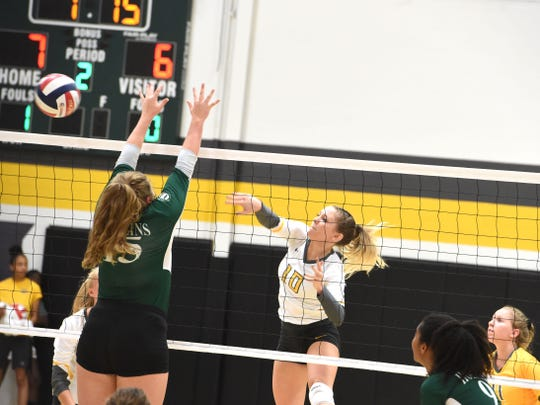 Mary Baldwin's Deborah Black (10) switched from middle to outside hitter this season.