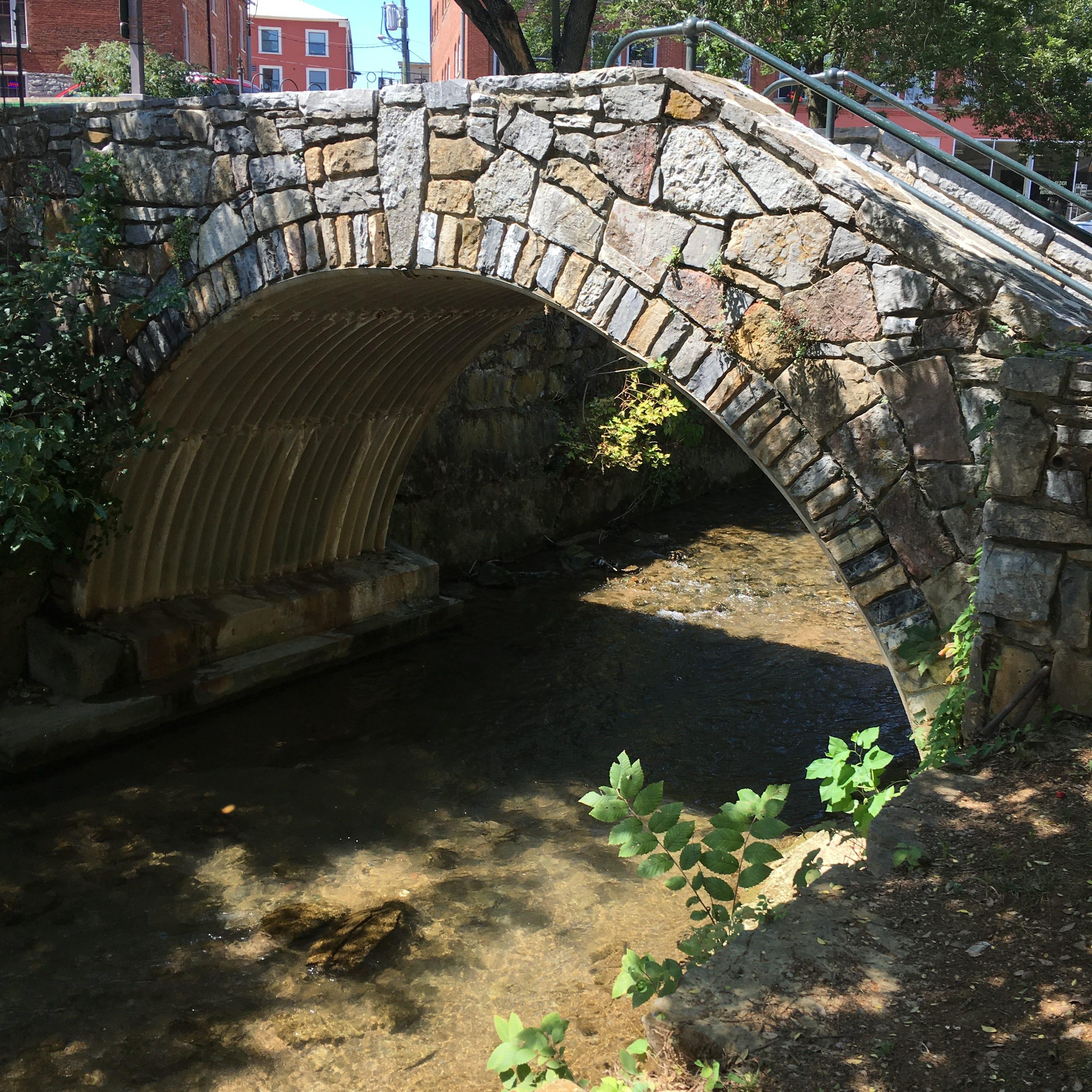 The bridge at Lewis Creek in Staunton, Virginia.