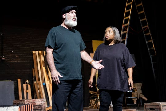 "Bill Martin and Joanne Thompson rehearse ""110 Stories"" by Sarah Tuft at ShenanArts theater in Staunton, Virginia."