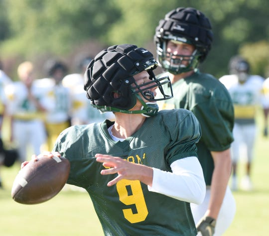 Senior quarterback Kobe Lee throws a pass Wednesday, Sept. 4, 2019, at Sauk Rapids-Rice High School.