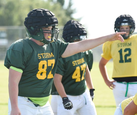 Senior lineman Carter Kieke calls out to his teammates Wednesday, Sept. 4, 2019, at Sauk Rapids High School.