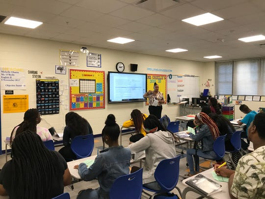 """An English class receives instruction in the new Rickards High School """"Building 23"""" Thursday morning."""
