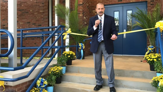 """Leon County Schools Superintendent Rocky Hanna speaks at the """"Building 23"""" ribbon-cutting ceremony Thursday morning at Rickards High School."""