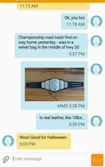 Frank Price texted a friend after finding the AEW championship belt.