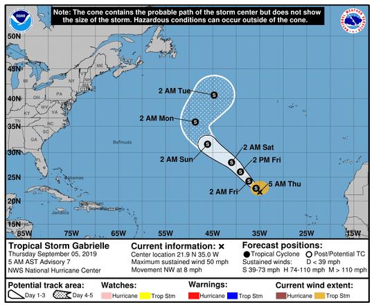 Tropical Storm Gabrielle 5 a.m. Sept. 5, 2019