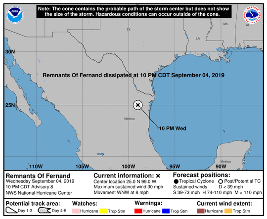 Former Tropical Storm Fernand 11 p.m. Sept. 4, 2019