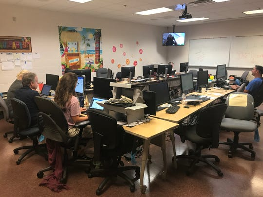 The secure, bunker-style emergency newsroom at Treasure Coast Newspapers' St. Lucie West production facility during Hurricane Dorian coverage.