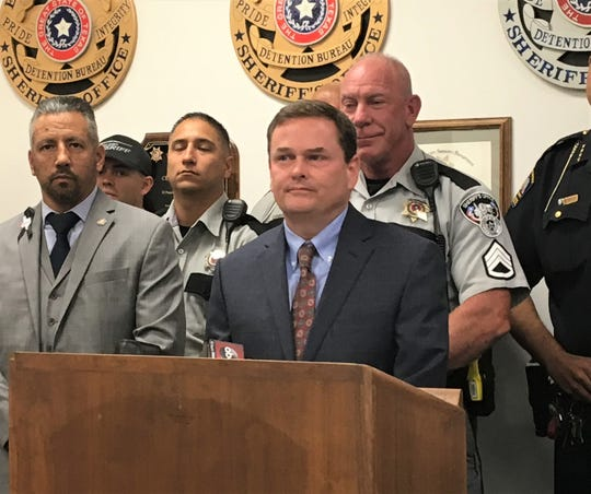 Ray Duke, of the El Paso County District Attorney's Office, speaks about Operation Safe Streets 2019 at a news conference Thursday at the El Paso County Jail.