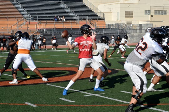 Ventura College quarterback Alakai Yuen prepares to throw downfield during a team practice on Tuesday. Yuen, a transfer from Garden City Community College, will share the QB duties with Dino Maldonado.