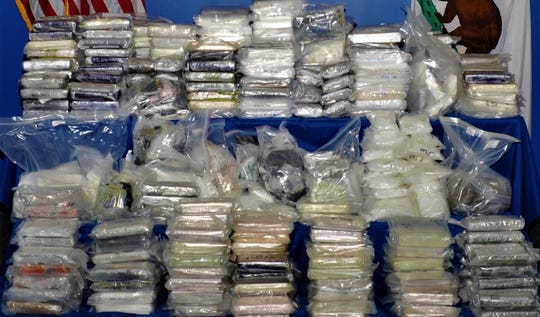 Federal authorities say hundreds of pounds of drugs were seized when they busted an international conspiracy to ship drugs from Mexico to Canada through Ventura and other Southern California hubs.