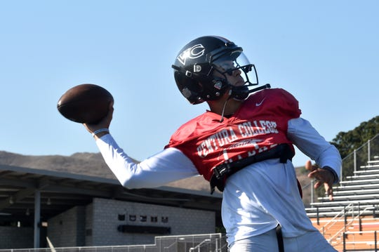 Ventura College quarterback Dino Maldanado is ready to fire a pass during practice on Tuesday. Maldanado, a transfer from Portland State, will share the QB duties with Alakai Yuen.