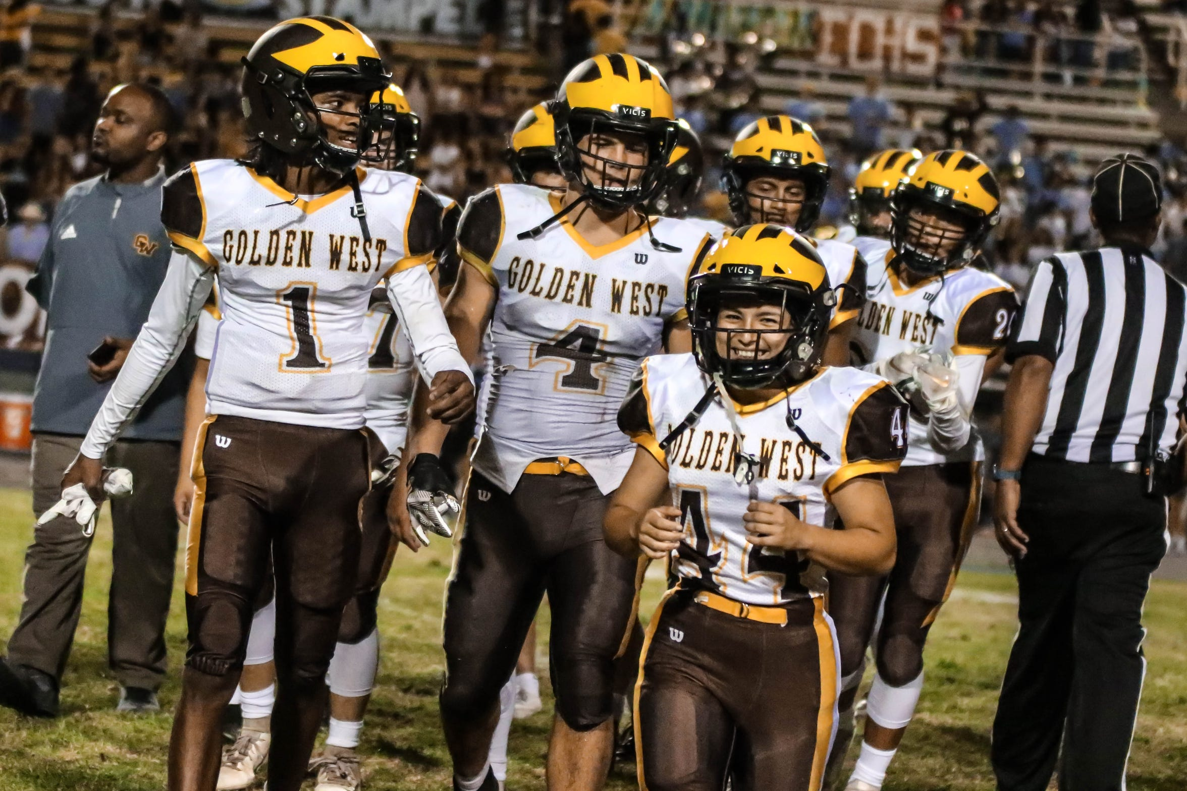 Golden West's Angel Celaya (44) celebrates after the team's win over El Capitan-Merced in Week 2.