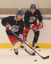 From left, Rangers Vitali Kravtsov and Adam Fox along with other Rangers prospects practice at the Rangers training facility in Greenburgh Sept. 5, 2019.